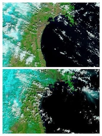La regione del Sendai (Giappone nordorientale) ripresa da un satellite Nasa: in alto, un'immagine del 26 febbraio 2011, sotto una del 12 marzo (Reuters/Nasa/Modis)