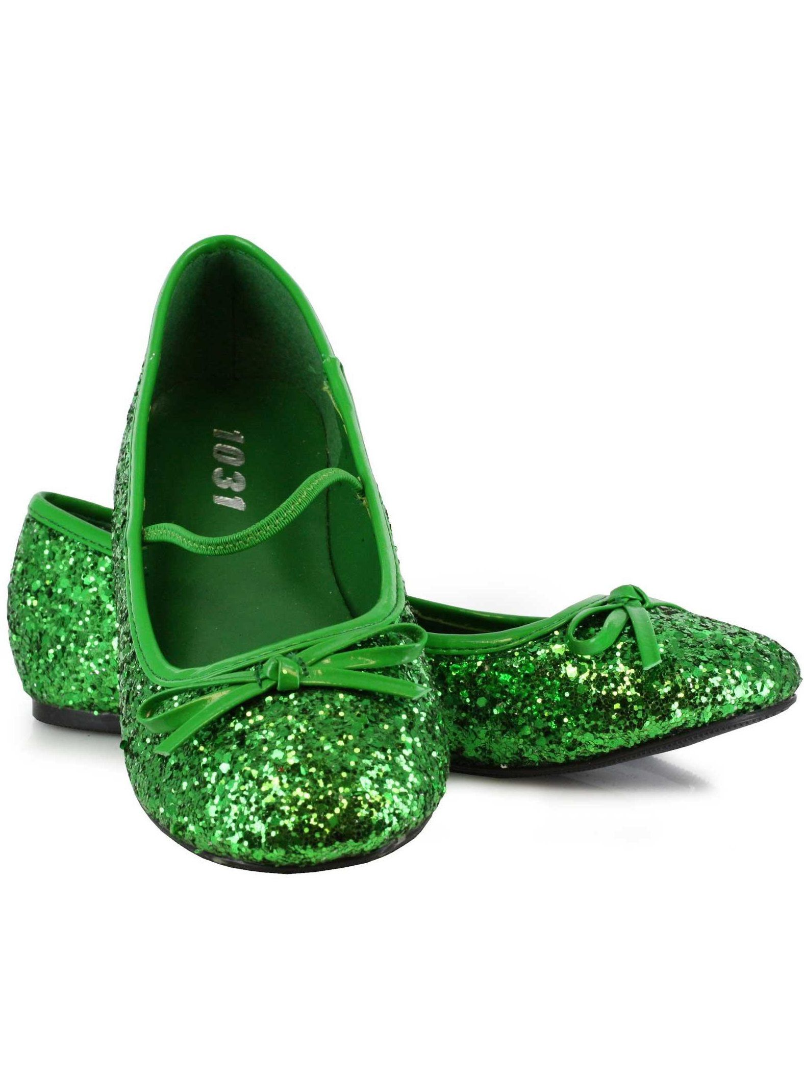 Buy green sparkle flat shoes child