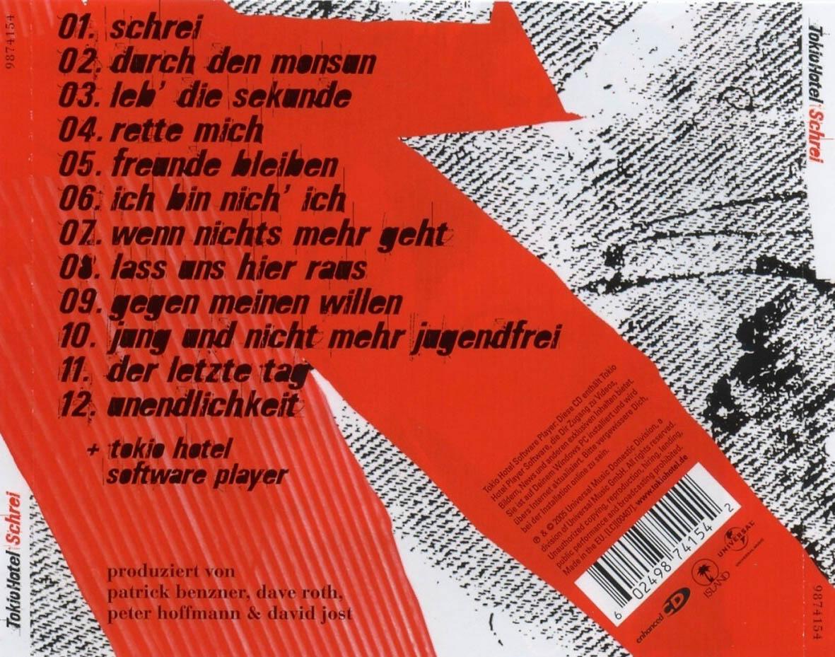 Cartula Trasera De Tokio Hotel - Schrei Portada