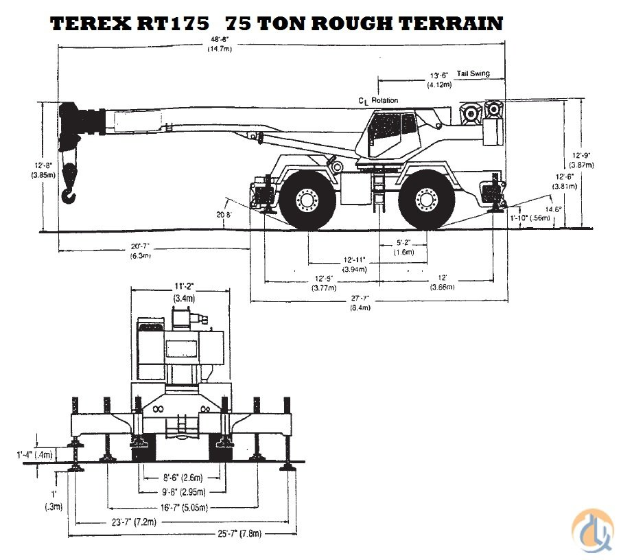 Sold 1999 TEREX RT175 75 TON CRANE CERTIFIED Crane for on