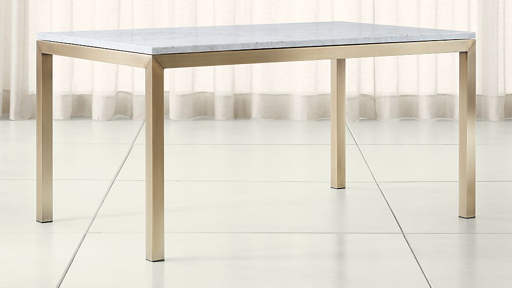 Parsons White Marble Top/ Brass Base Dining Tables