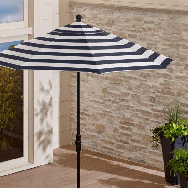 9' Sunbrella Navy Striped Patio Umbrella Crate