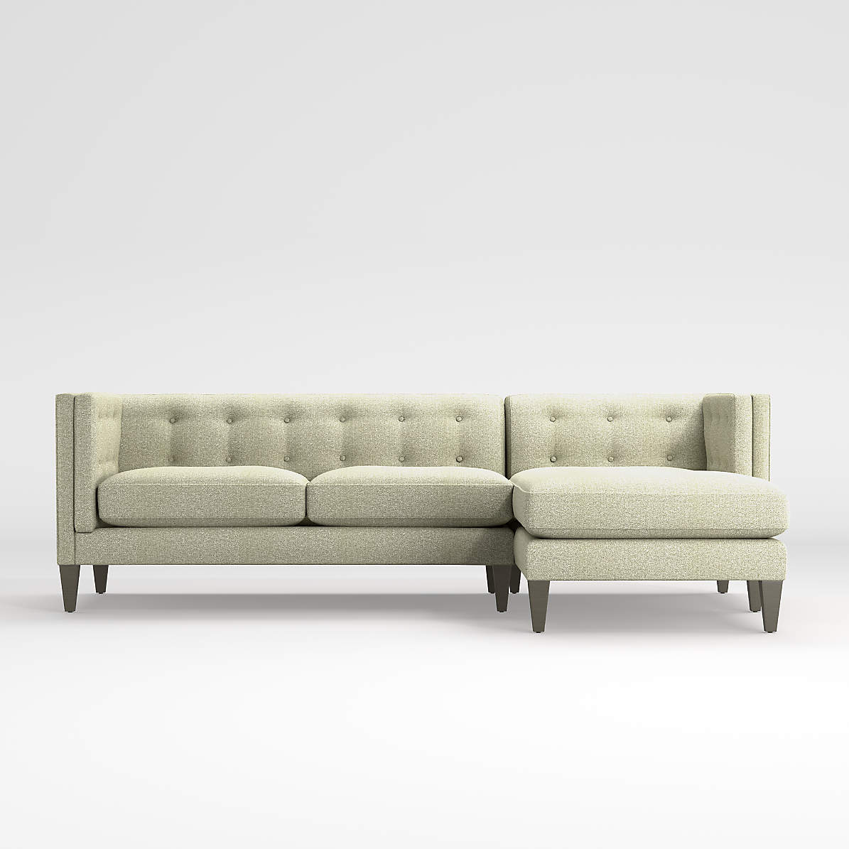 aidan 2 piece right arm chaise tufted sectional sofa crate and barrel canada