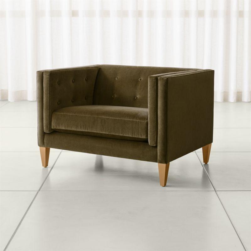 velvet tufted chair swing autocad block aidan and a half reviews crate barrel aidan46inchaircomooliveshf17 1x1