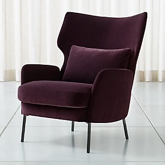 leather living room chairs l shaped layout ideas crate and barrel alex bordeaux velvet accent chair