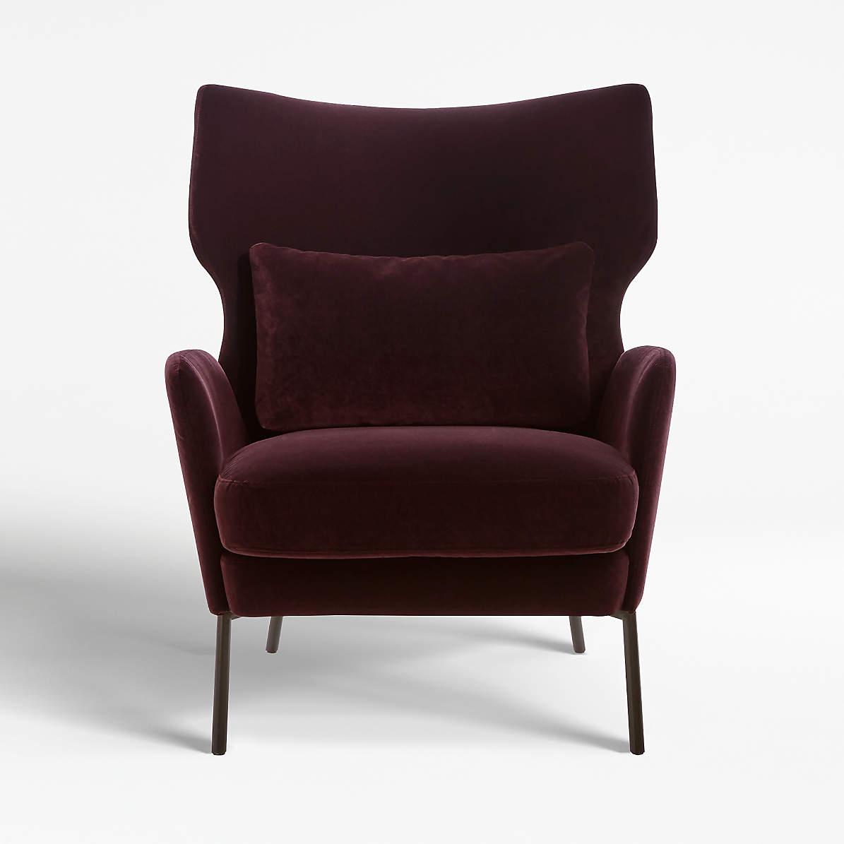 Alex Bordeaux Velvet Accent Chair Reviews Crate And Barrel