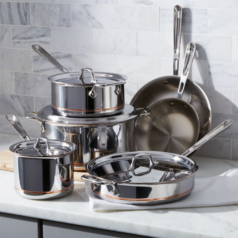 AllClad Copper Core 10Piece Cookware Set with Bonus  Reviews  Crate and Barrel