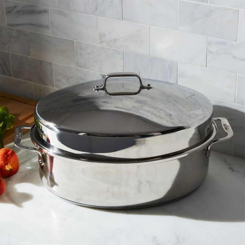 AllClad  Oval Roasting Pan with Lid  Crate and Barrel