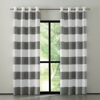 grey stripe curtain - Home The Honoroak