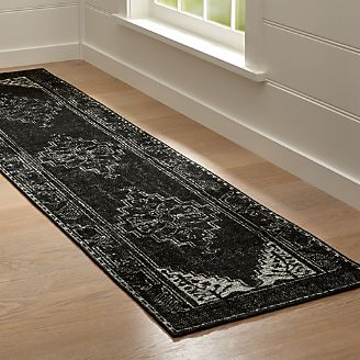 kitchen runner rugs resurfacing cabinets rug runners for hallway outdoor crate and barrel anice black hand knotted oriental style