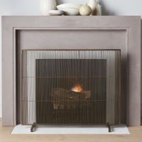 Antiqued Brass Fireplace Screen | Crate and Barrel