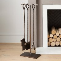 Antiqued Brass Fireplace Tool Set | Crate and Barrel