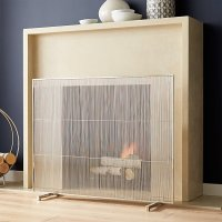 Polished Nickel Fireplace Screen | Crate and Barrel