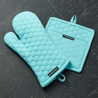 Aqua Blue Oven Mitt and Pot Holder | Crate and Barrel