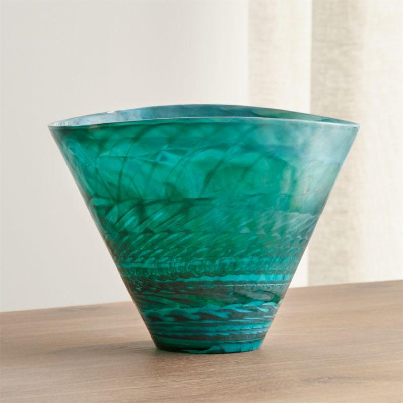 Murano Glass Aqua Vase  Reviews  Crate and Barrel