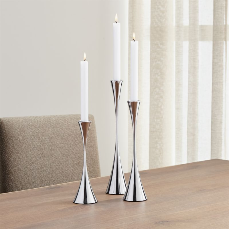 3Piece Arden Mirrored Stainless Steel Taper Candle Holder