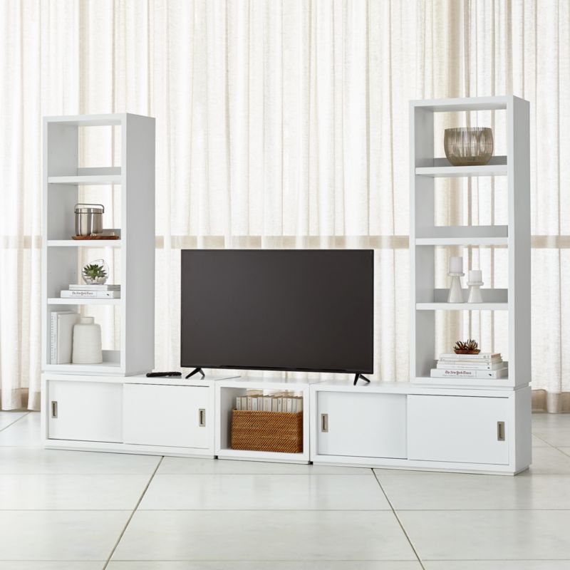 media center living room stand lamp for tv stands consoles cabinets crate and barrel aspect white modular with 23 open units