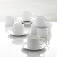 Set of 8 Aspen Cups and Saucers | Crate and Barrel