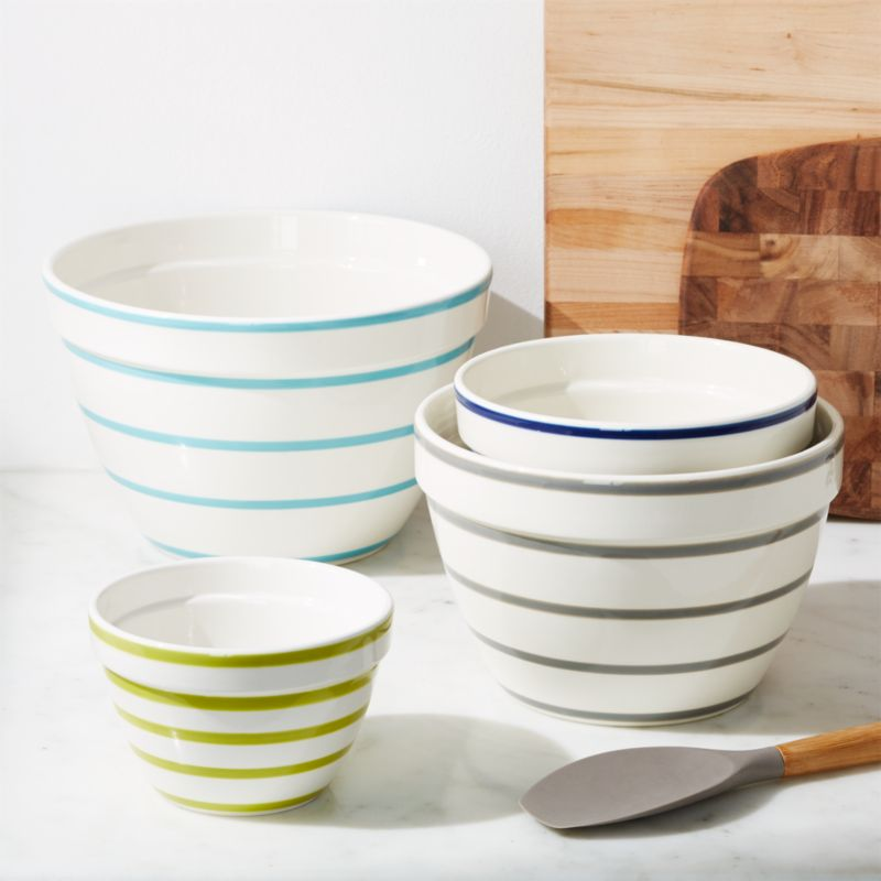 Avery Striped Mixing Bowls, Set of 4 + Reviews