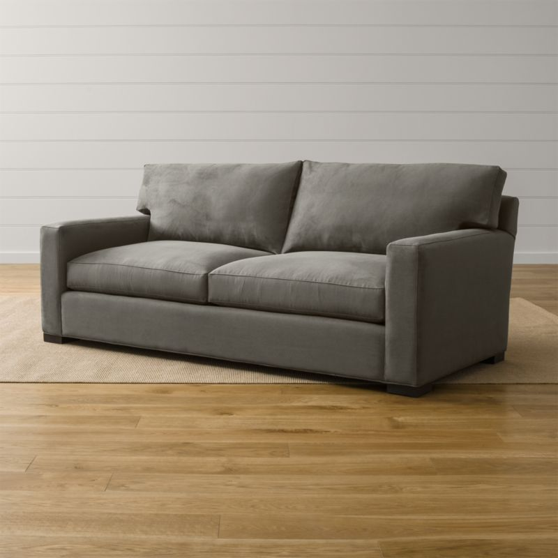 microfiber sofas chaise sofa sleeper sectional axis ii grey reviews crate and barrel