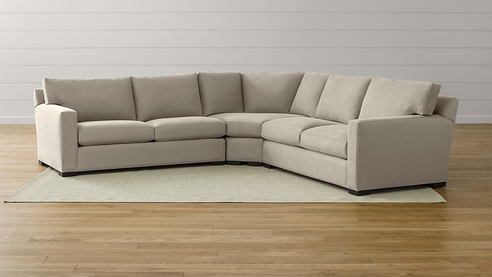 axis sofa reviews best leather ii 3-piece sectional douglas: nickel | crate and ...