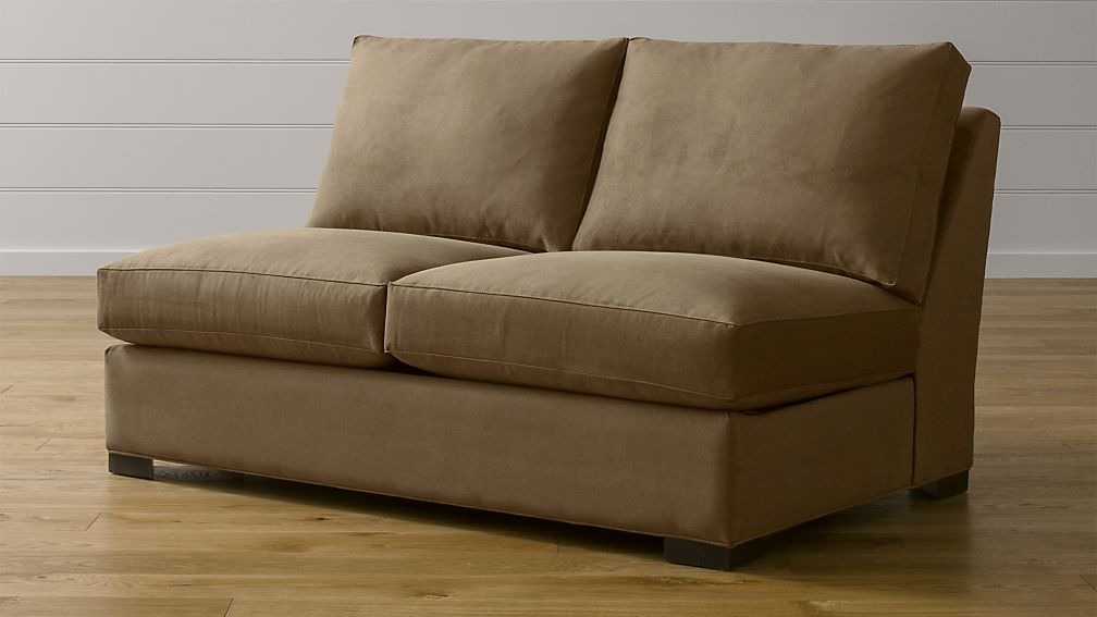 axis sofa reviews paint spray ii brown armless sleeper | crate and barrel
