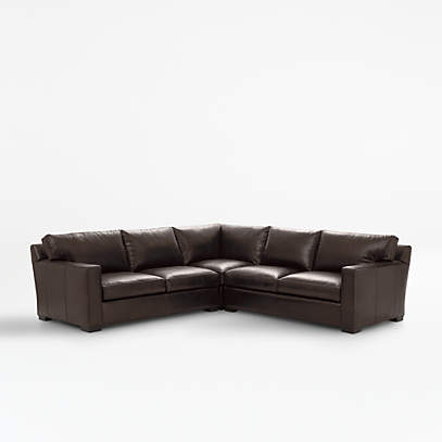axis ii brown 3 piece leather sectional sofa crate and barrel