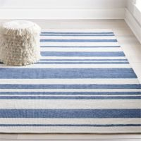 Barcode Blue Striped Rug | Crate and Barrel