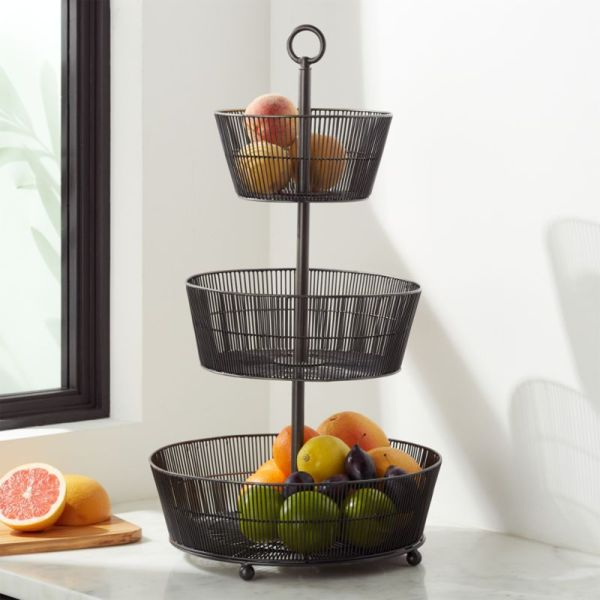 Barrett 3-tier Fruit Basket Graphite Crate And