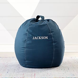 bean bag chairs for boys natuzzi leather swivel chair kids floor pillows poufs crate and barrel small dark blue