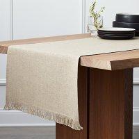 """Beckett 120"""" Natural Linen Table Runner   Crate and Barrel"""