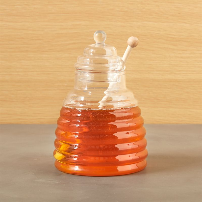 Beehive Glass Honey Jar with Wood Dipper  Crate and Barrel