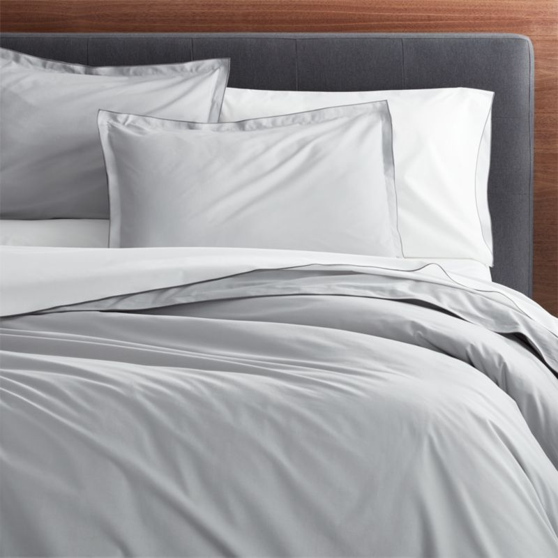 Belo Grey FullQueen Duvet Cover  Crate and Barrel
