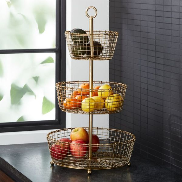 Bendt Gold 3-tier Wire Fruit Basket Crate And