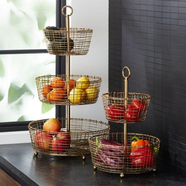 Bendt Gold Wire Fruit Basket Crate And Barrel