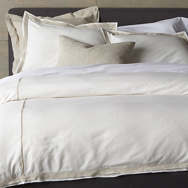 Bianca WhiteNatural Duvet Covers and Pillow Shams  Crate