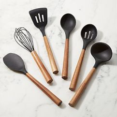 Kitchen Tool Free Standing Counter Cooking Utensils And Tools Crate Barrel Black Silicone With Acacia Handle
