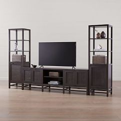 Living Room Media Furniture Nautical Home Decor Tv Stands Consoles Cabinets Crate And Barrel Blake Carbon 85 Console With 2 Tall