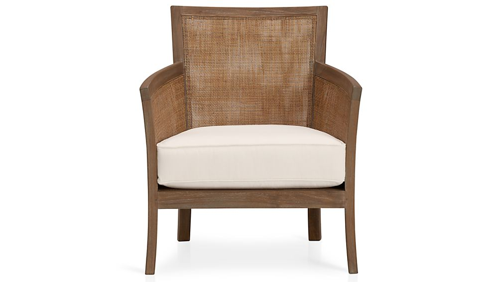 Blake Rattan White Cushioned Chair  Crate and Barrel