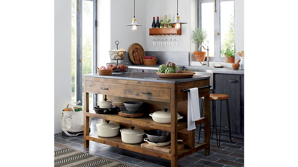 large kitchen island country canister sets ceramic bluestone reclaimed wood reviews crate and barrel