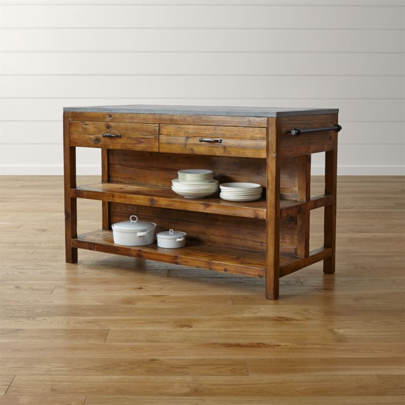 oak kitchen islands slide out organizers cabinets bluestone reclaimed wood large island reviews crate and barrel