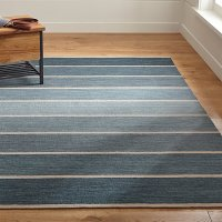 Blue Striped Dhurrie Rug | Crate and Barrel