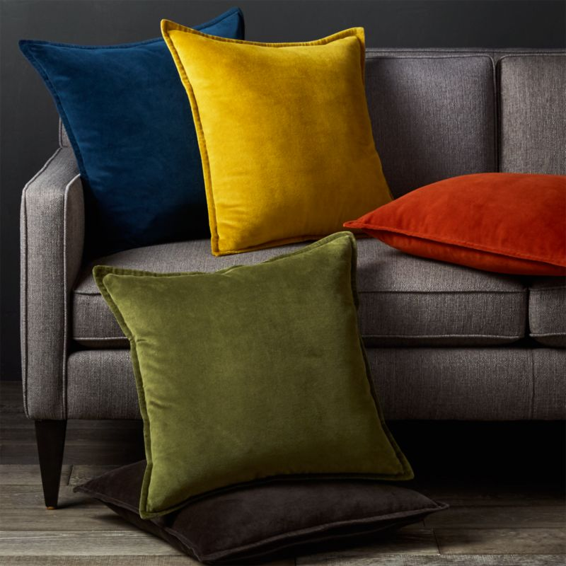 throw pillows for dark brown leather sofa craigslist set richmond va brenner blue velvet pillow | crate and barrel