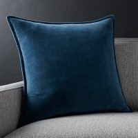 "Brenner Indigo Blue 20"" Velvet Pillow with Feather"