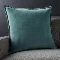 "Brenner Slate Grey 20"" Velvet Pillow with Feather-Down ..."