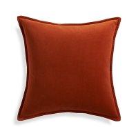 "Brenner Rust Orange 20"" Velvet Pillow with Feather-Down ..."
