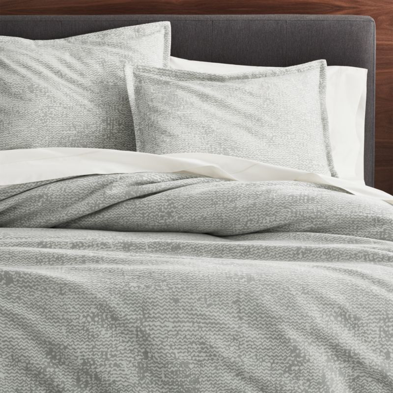 Brice Grey Patterned Duvet Covers and Pillow Shams  Crate