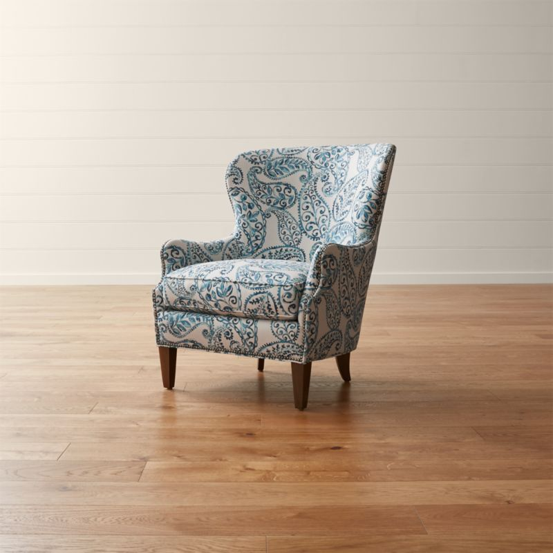 ikea usa chairs picture frame molding above chair rail brielle blue wingback armchair + reviews | crate and barrel