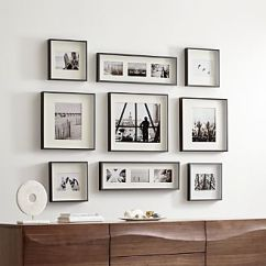 Wall Frames For Living Room White Wooden Blinds Picture Photos And Art Crate Barrel Brushed Gunmetal Frame Gallery Set Of 9