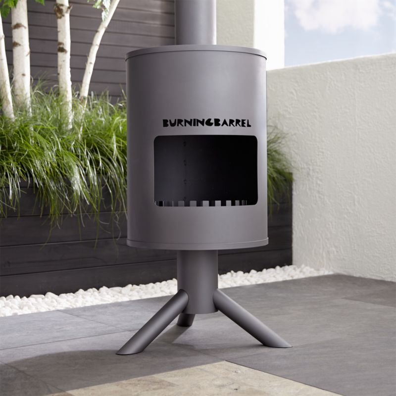 Burning Barrel Outdoor Fireplace  Crate and Barrel
